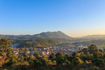 Village and Sunset ,    kalaw in Myanmar (Burmar)