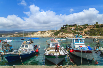 Fishing boats in a port in Pafos, Cyprus