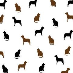 Cat and Dog Brown and Black Pattern