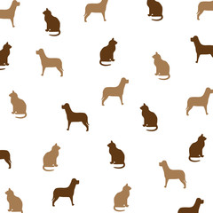 Cat and Dog Brown Pattern