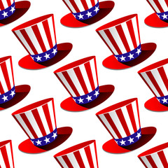 Patriotic American top hat seamless pattern