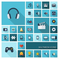 Vector flat colored multimedia and technology icons set