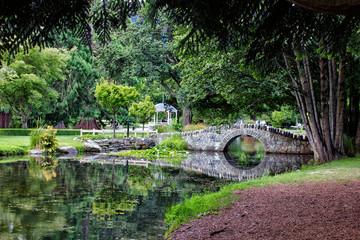 Bridge over lake in Queenstown Gardens