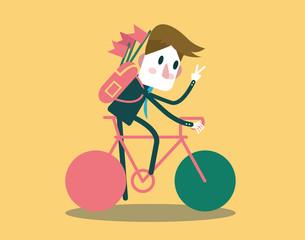 Businessman riding a bike and say hi.