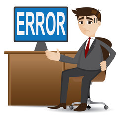 cartoon businessman showing error computer