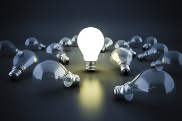 3d image of light bulb, creativity concept