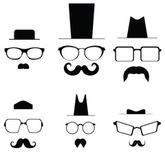 Icons glasses mustache and folders. Pic