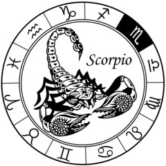 scorpion zodiac black white