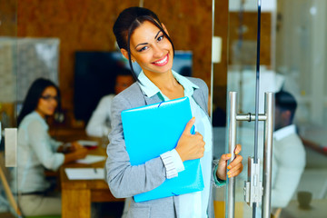 Smiling cute businesswoman standing with folder in office