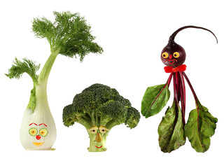 Funny portraits made ??from beet, fennel and broccoli