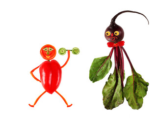 Funny portraits made from beet and pepper