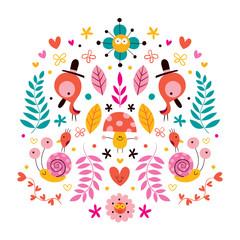 flowers, birds, mushroom & snails characters nature illustration