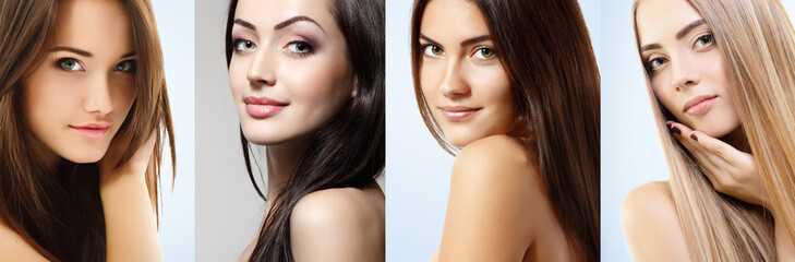 Beautiful girls, faces closeup