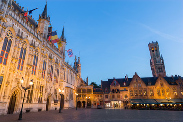 Brugge - The Burg square and facade of town hall.