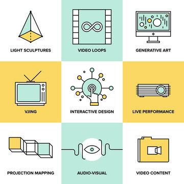Audio and visual art design flat icons