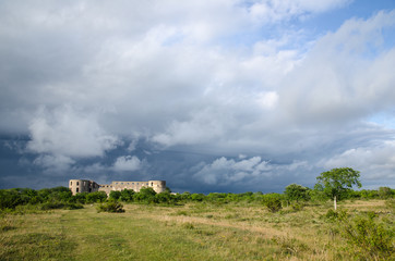 Bad weather is coming up at  a medieval castle ruin