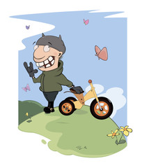 Biker and a children's tricycle cartoon