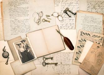 vintage accessories, antique fashion magazine and portrait of tw