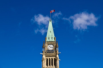The Peace Tower of the Center Block of the Canadian Parliament