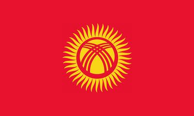 High detailed flag of Kyrgyzstan