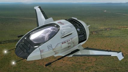 Fantasy 3D drone model for sci-fi alien war spacecrafts