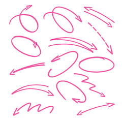 pink hand drawn arrows signs and highlighting elements