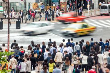 Fototapete - Straßenkreuzung in Tokio