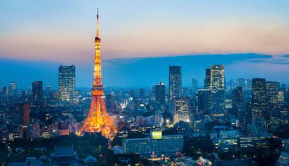 Photo sur Aluminium Tokyo Tokyo Tower bei Nacht