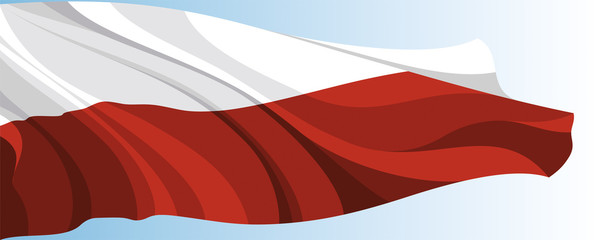 The national flag of the Poland on a background of blue sky