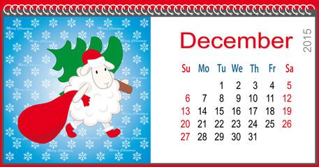Calendar for December and lamb dressed as Santa