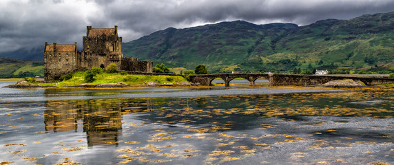 Panoramic of Eilean Donan Castle, Highlands, Scotland Wall mural