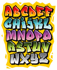 Foto op Plexiglas Graffiti Cartoon comic graffiti doodle font alphabet. Vector