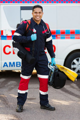 paramedic carrying portable medical equipments
