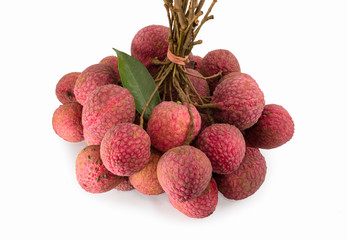 Fresh litchies on white background