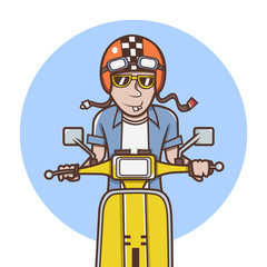 Man with orange helmet riding a yellow scooter Illustration