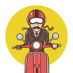Man with red helmet riding a red scooter Illustration