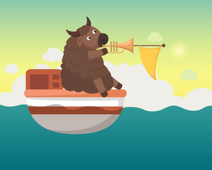 boat in the sea with yak