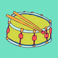 big toy green drum vector illustration, hand drawn