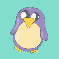Cute Cartoon Penguin, vector illustration, hand drawn