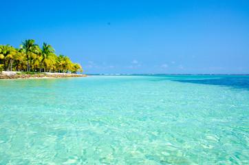 Paradise Beach on beautiful island South Water Caye - Belize