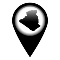 Vector pin with the map in - Algeria