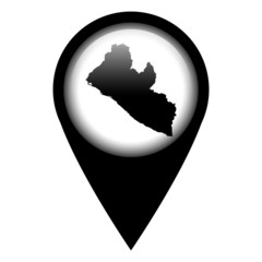Vector pin with the map in - Liberia