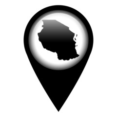 Vector pin with the map in - Tanzania