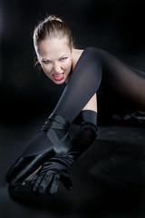 portrait of ballet dancer in black clothes