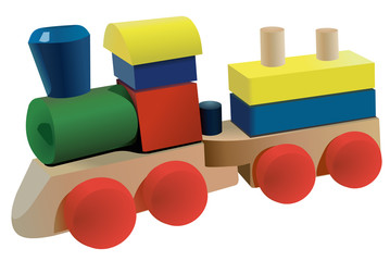 Vector format of wooden cubes locomotive toy with wagon
