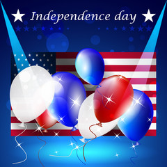Independence day, vector background with US flag