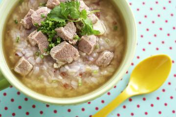close up thai stream rice and pork