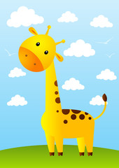 Funny giraffe on meadow background