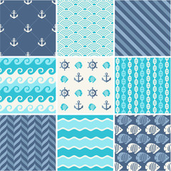 Navy vector seamless patterns set: waves, anchors, chains