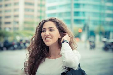 beautiful curly long brunette hair moroccan woman